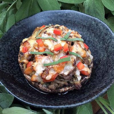 Opskrift: Fyldte portobellosvampe vegetar