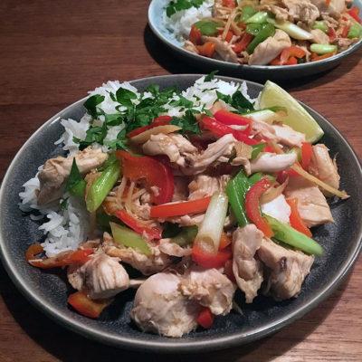 Opskrift: Thai kylling med ingefær (gai pad khing)