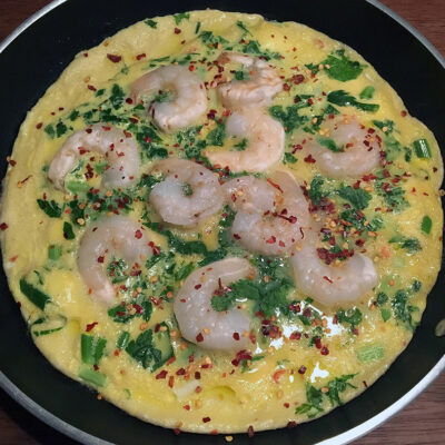 Opskrift: Laber omelet med rejer