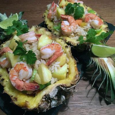 Opskrift: Stegte ris med ananas og rejer