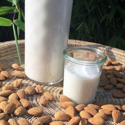 Opskrift: 1 liter hjemmelavet mandelmælk for 12 kr.