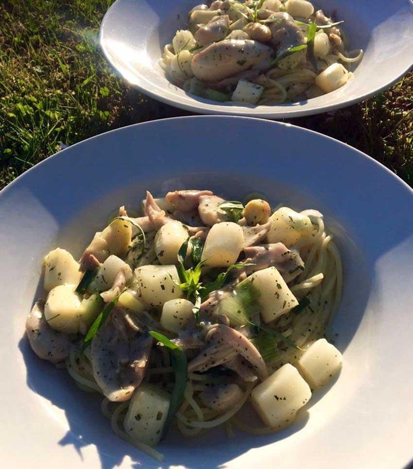 Opskrift: Pasta med kylling og asparges (fedtfattig)