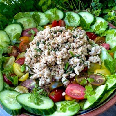 Spicy-thai-salat-med-kylling-larb-gai